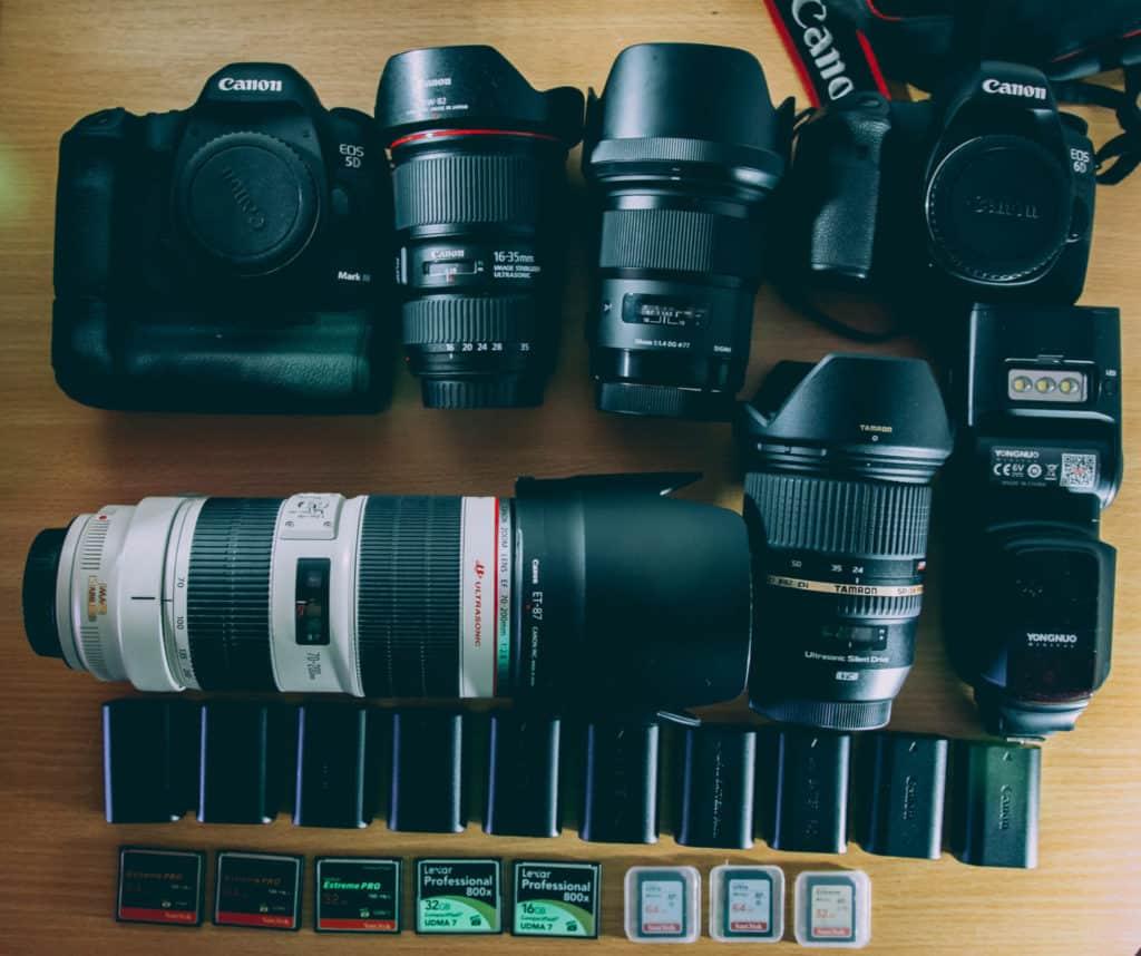 camera, lens, accessories